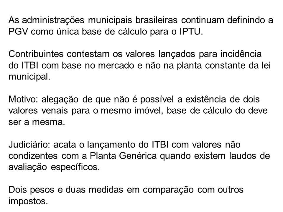 As administrações municipais brasileiras continuam definindo a PGV como única base de cálculo para o IPTU. Contribuintes contestam os valores lançados