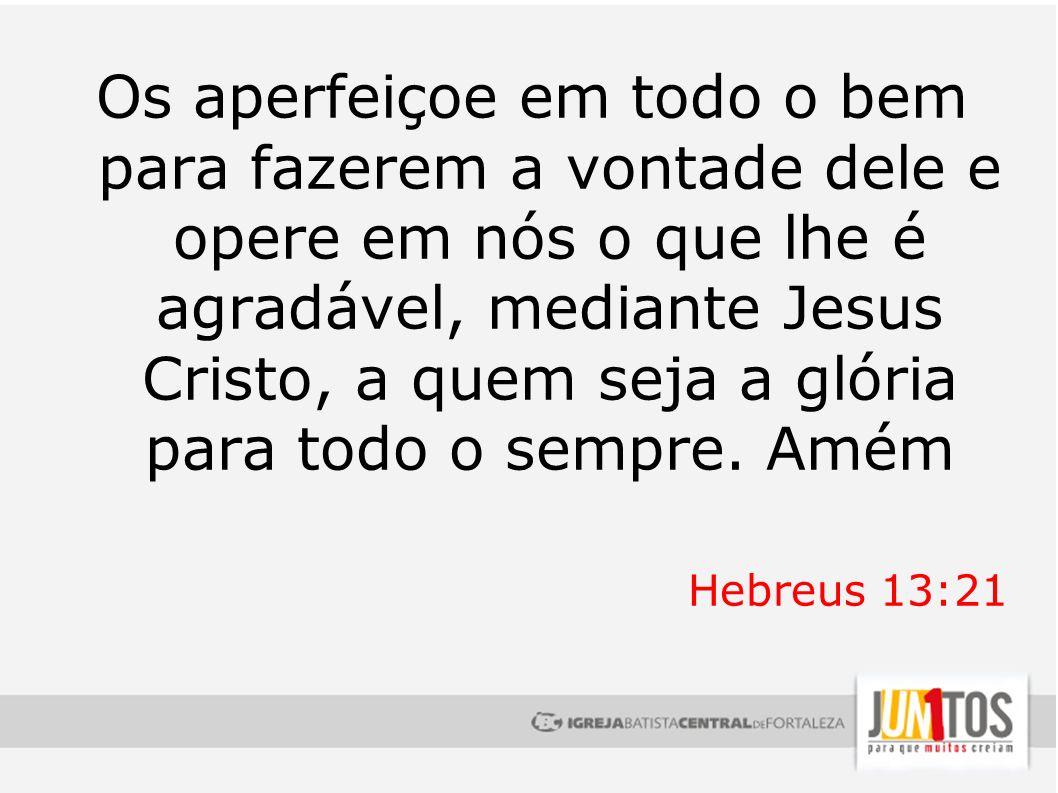 Os aperfeiçoe em todo o bem para fazerem a vontade dele e opere em nós o que lhe é agradável, mediante Jesus Cristo, a quem seja a glória para todo o