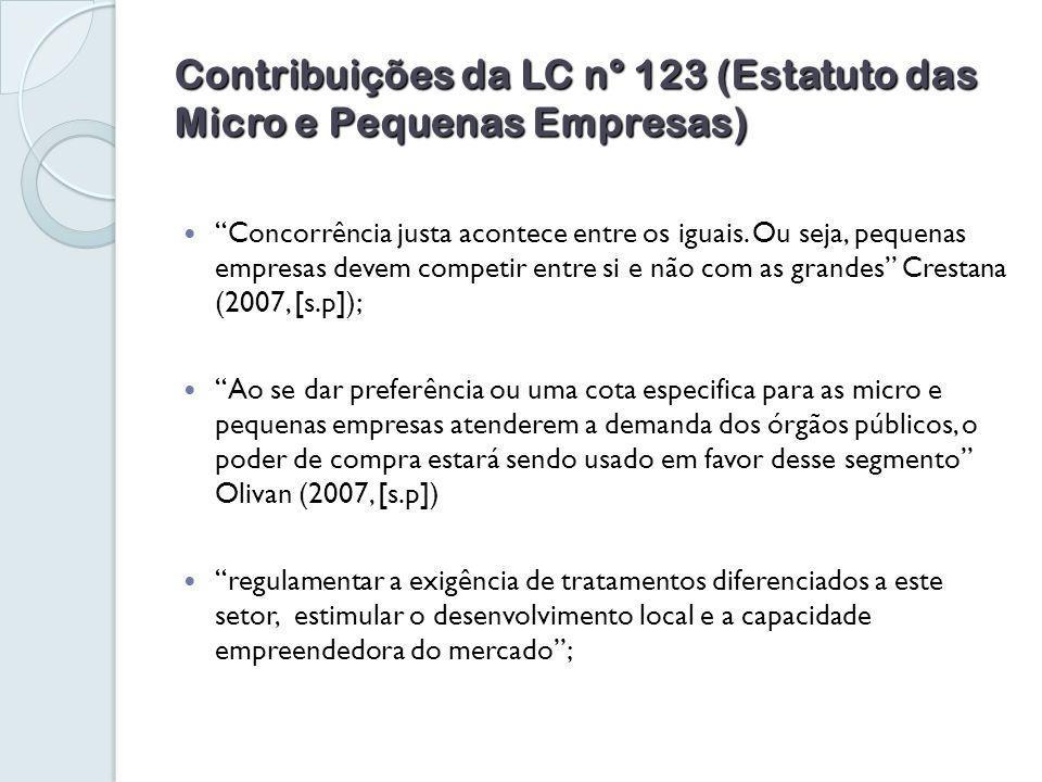 Contribuições da LC n° 123 (Estatuto das Micro e Pequenas Empresas) Concorrência justa acontece entre os iguais.