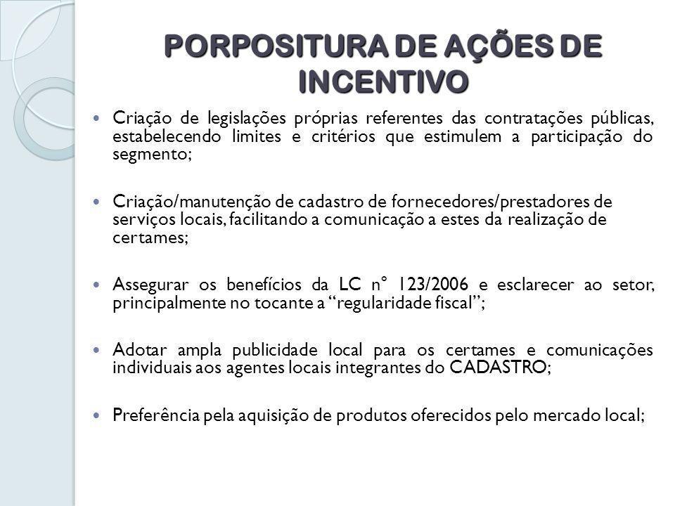 PORPOSITURA DE AÇÕES DE INCENTIVO Criação de legislações próprias referentes das contratações públicas, estabelecendo limites e critérios que estimulem a participação do segmento; Criação/manutenção de cadastro de fornecedores/prestadores de serviços locais, facilitando a comunicação a estes da realização de certames; Assegurar os benefícios da LC n° 123/2006 e esclarecer ao setor, principalmente no tocante a regularidade fiscal; Adotar ampla publicidade local para os certames e comunicações individuais aos agentes locais integrantes do CADASTRO; Preferência pela aquisição de produtos oferecidos pelo mercado local;