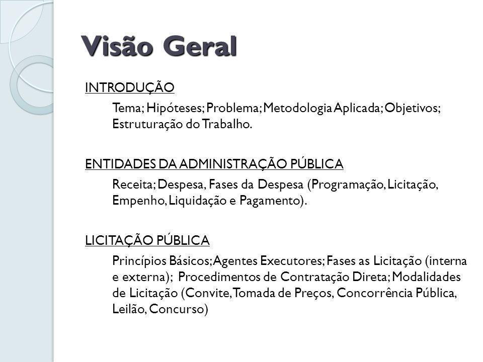 Visão Geral INTRODUÇÃO Tema; Hipóteses; Problema; Metodologia Aplicada; Objetivos; Estruturação do Trabalho.