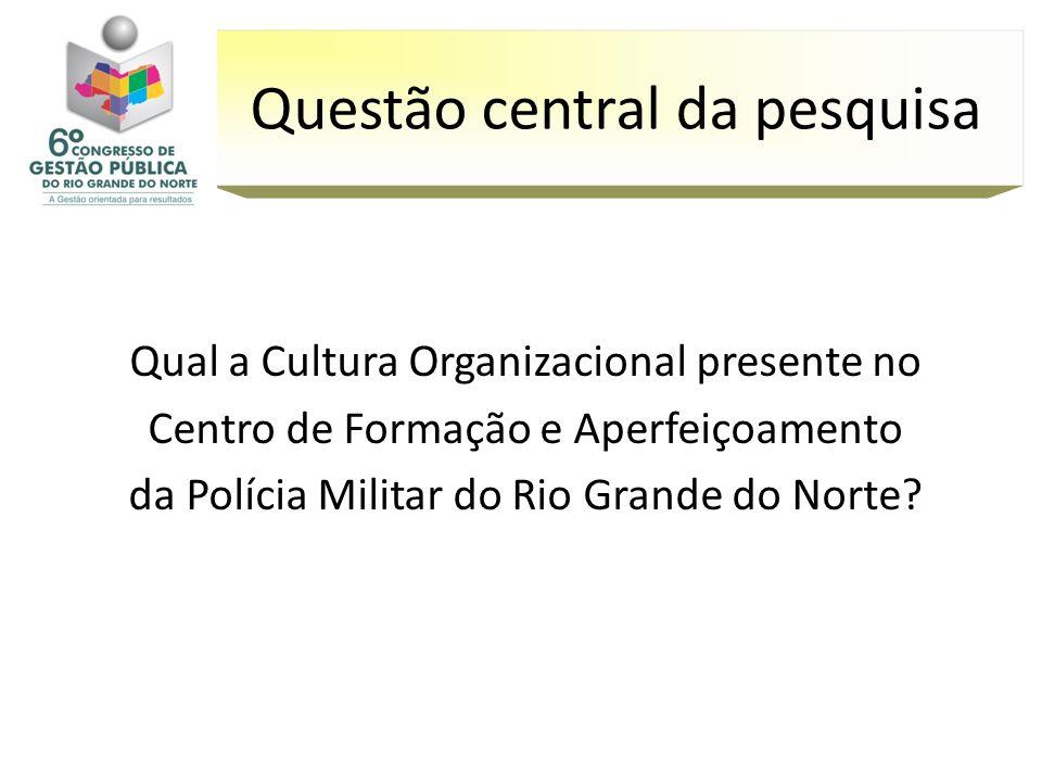 Qual a Cultura Organizacional presente no Centro de Formação e Aperfeiçoamento da Polícia Militar do Rio Grande do Norte? Questão central da pesquisa