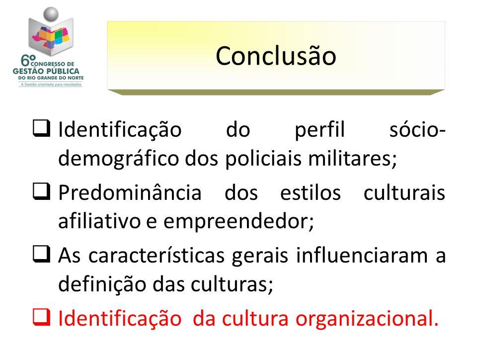 Identificação do perfil sócio- demográfico dos policiais militares; Predominância dos estilos culturais afiliativo e empreendedor; As características