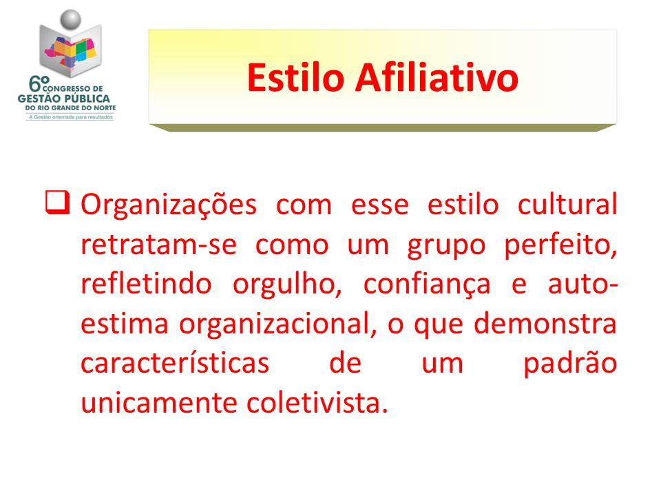 Organizações com esse estilo cultural retratam-se como um grupo perfeito, refletindo orgulho, confiança e auto- estima organizacional, o que demonstra