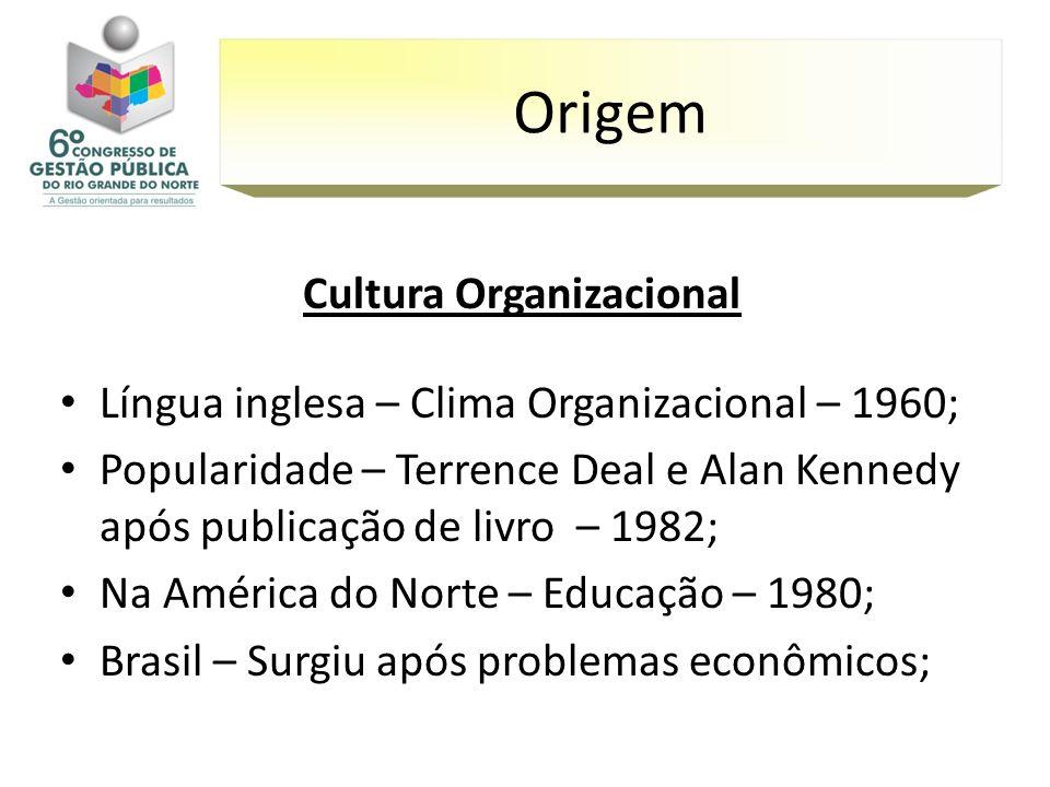 Cultura Organizacional Língua inglesa – Clima Organizacional – 1960; Popularidade – Terrence Deal e Alan Kennedy após publicação de livro – 1982; Na A