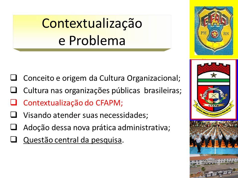 Conceito e origem da Cultura Organizacional; Cultura nas organizações públicas brasileiras; Contextualização do CFAPM; Visando atender suas necessidad