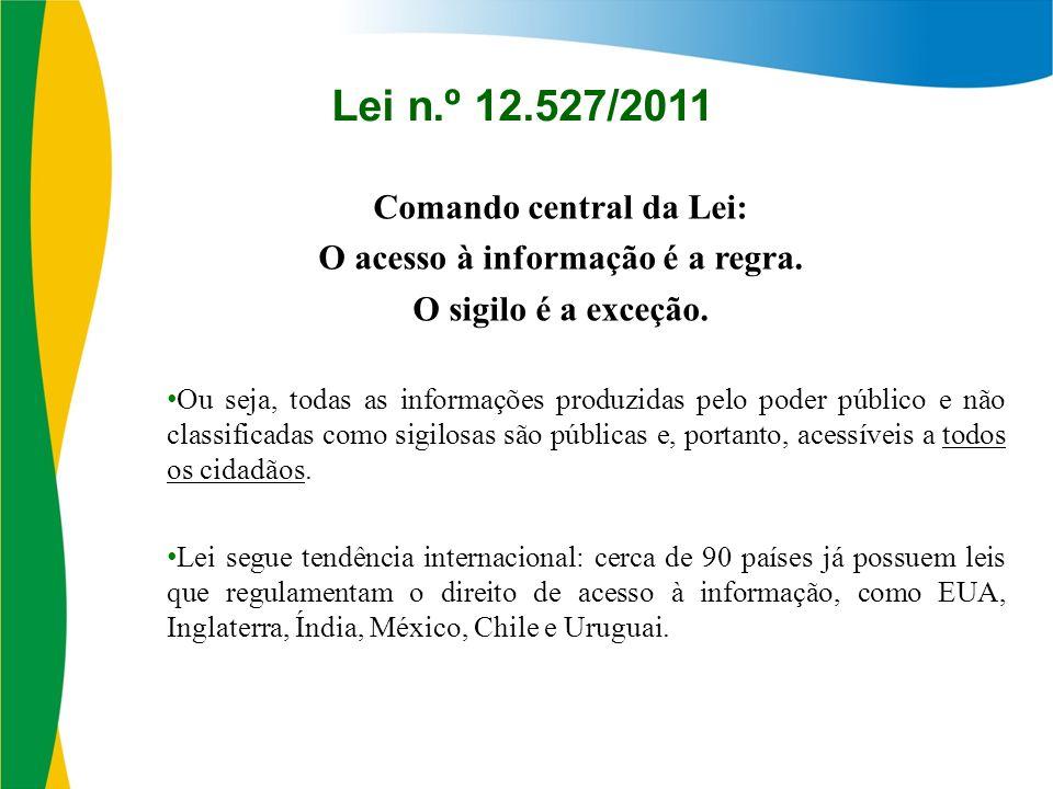 Comando central da Lei: O acesso à informação é a regra.