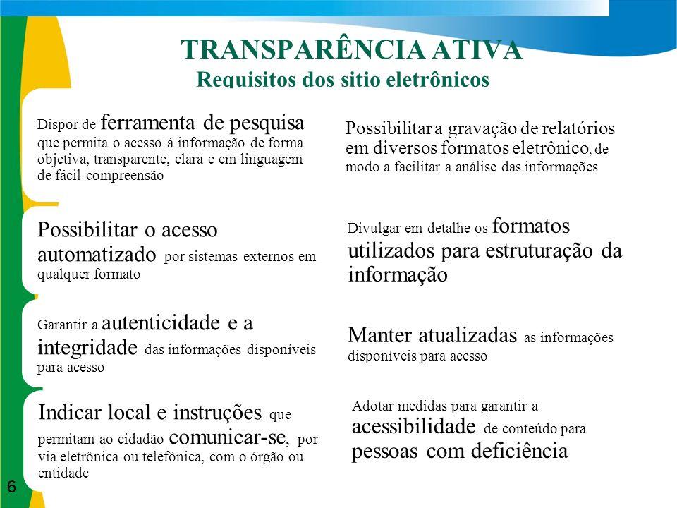 Divulgação do conteúdo em seção específica sobre Acesso à Informação disponível nos sites dos órgãos/entidades.