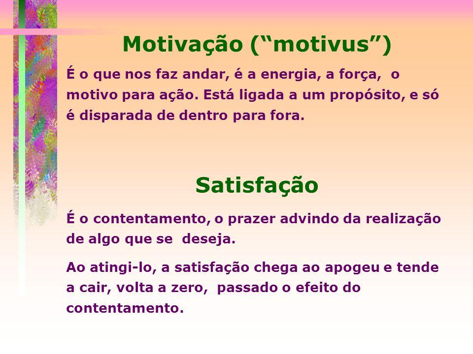 Motivação (motivus) É o que nos faz andar, é a energia, a força, o motivo para ação. Está ligada a um propósito, e só é disparada de dentro para fora.