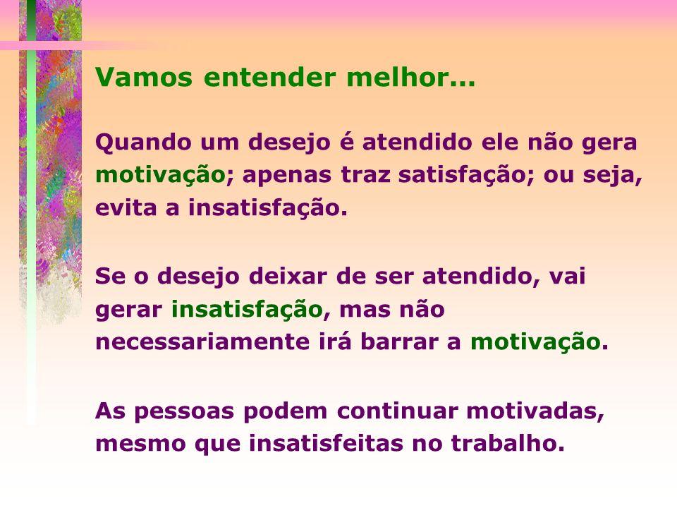 Vamos entender melhor... Quando um desejo é atendido ele não gera motivação; apenas traz satisfação; ou seja, evita a insatisfação. Se o desejo deixar