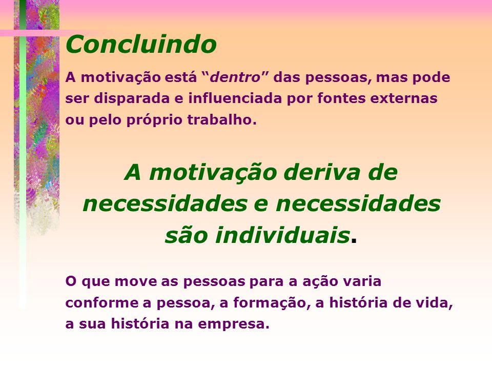 Concluindo A motivação está dentro das pessoas, mas pode ser disparada e influenciada por fontes externas ou pelo próprio trabalho. A motivação deriva