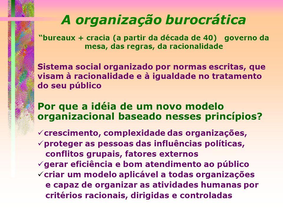 A organização burocrática bureaux + cracia (a partir da década de 40) governo da mesa, das regras, da racionalidade Sistema social organizado por norm