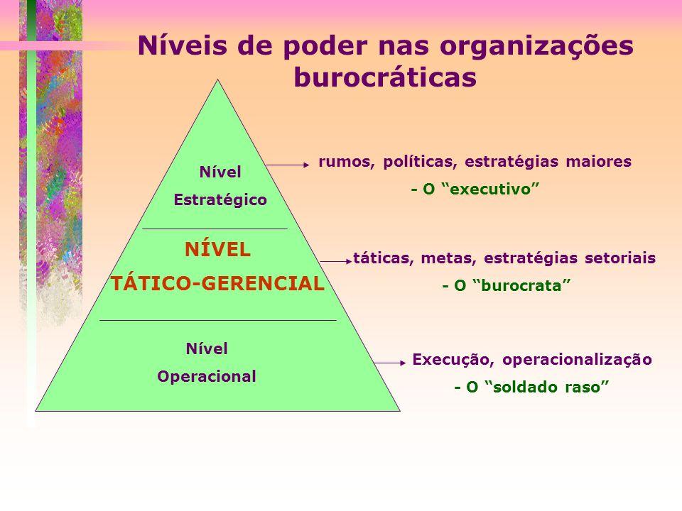 Níveis de poder nas organizações burocráticas Nível Estratégico NÍVEL TÁTICO-GERENCIAL Nível Operacional rumos, políticas, estratégias maiores - O exe