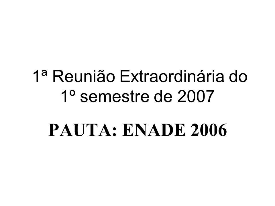 1ª Reunião Extraordinária do 1º semestre de 2007 PAUTA: ENADE 2006