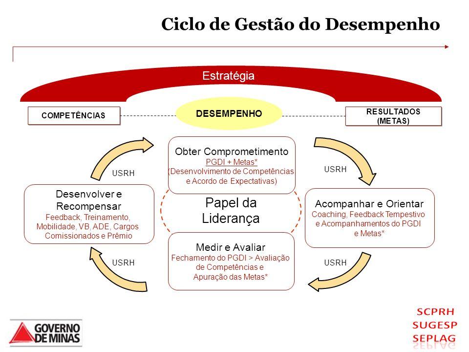 Ciclo de Gestão do Desempenho Papel da Liderança USRH Estratégia COMPETÊNCIAS RESULTADOS (METAS) Medir e Avaliar Fechamento do PGDI > Avaliação de Com