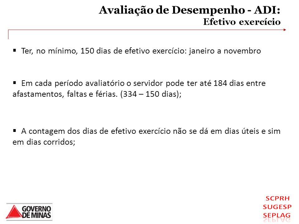Avaliação de Desempenho - ADI: Efetivo exercício Ter, no mínimo, 150 dias de efetivo exercício: janeiro a novembro Em cada período avaliatório o servi