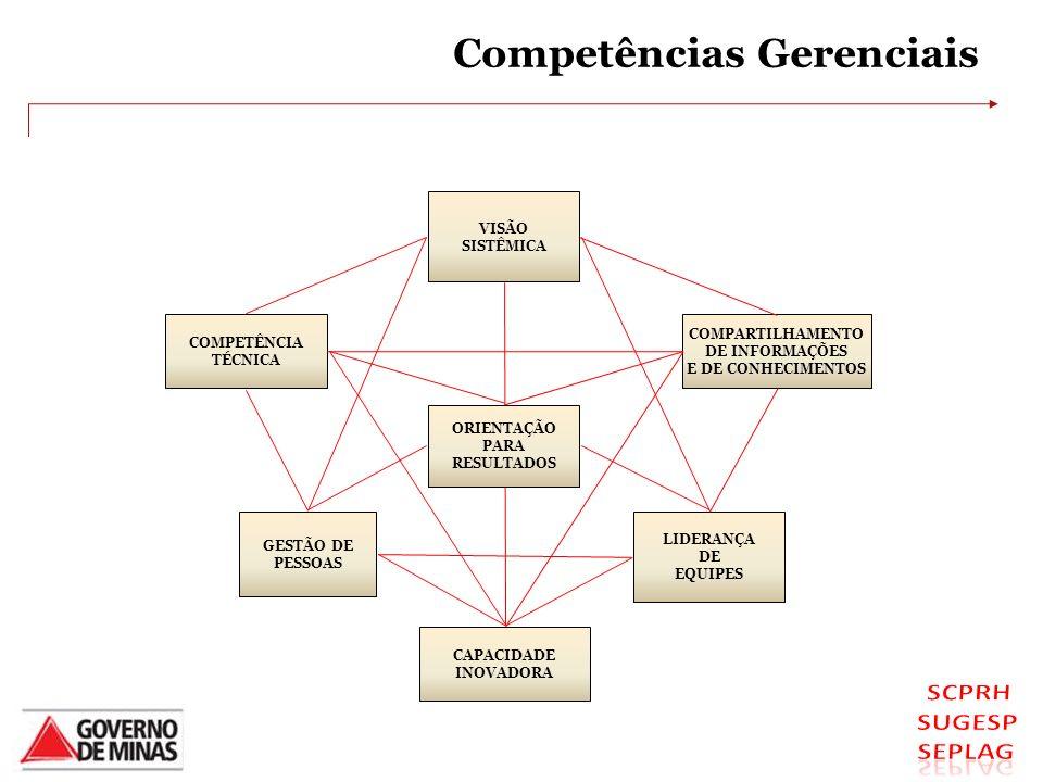 Competências Gerenciais GESTÃO DE PESSOAS LIDERANÇA DE EQUIPES VISÃO SISTÊMICA COMPARTILHAMENTO DE INFORMAÇÕES E DE CONHECIMENTOS COMPETÊNCIA TÉCNICA