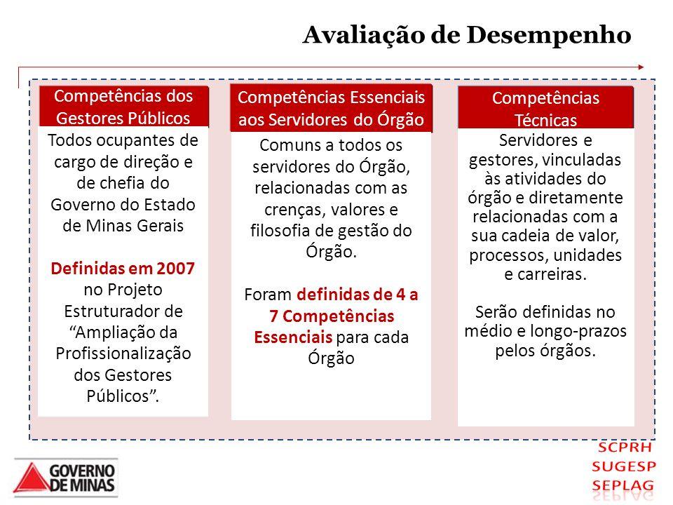 Competências dos Gestores Públicos Todos ocupantes de cargo de direção e de chefia do Governo do Estado de Minas Gerais Definidas em 2007 no Projeto E