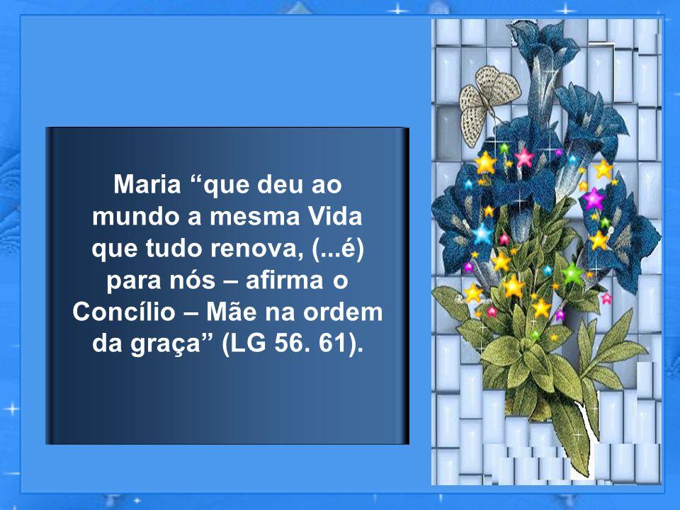 E de fato, Nossa Senhora, dando ao mundo Jesus, fonte da graça, colaborou ativamente e do modo mais direto para a difusão da mesma graça em todos os fiéis.
