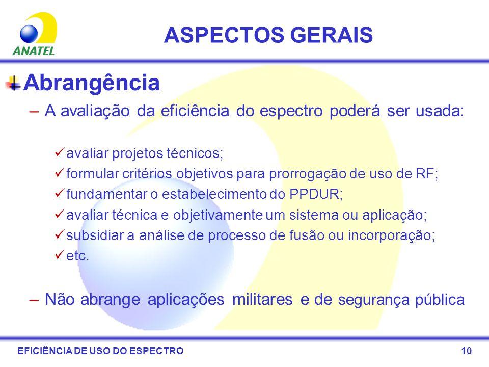 10 ASPECTOS GERAIS Abrangência –A avaliação da eficiência do espectro poderá ser usada: avaliar projetos técnicos; formular critérios objetivos para p