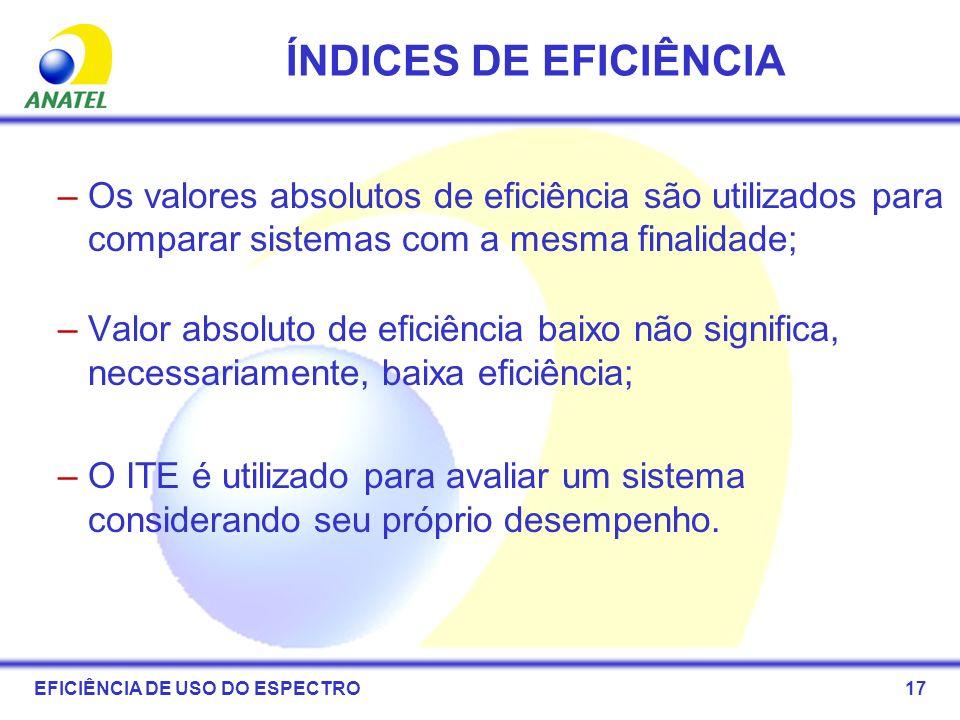 17 –Os valores absolutos de eficiência são utilizados para comparar sistemas com a mesma finalidade; –Valor absoluto de eficiência baixo não significa