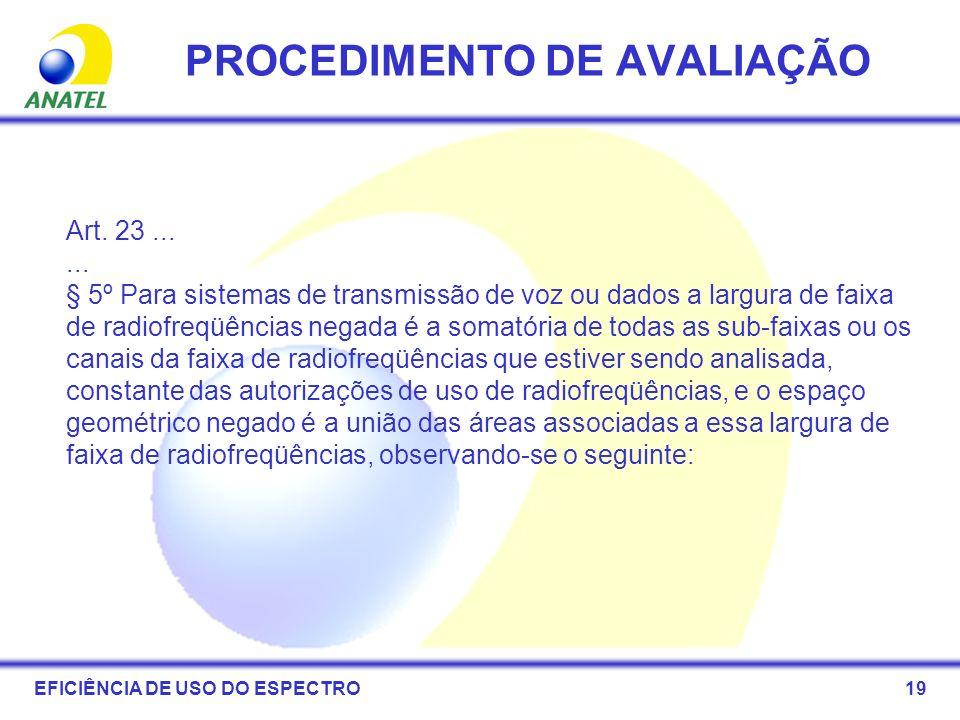 19 PROCEDIMENTO DE AVALIAÇÃO Art. 23...... § 5º Para sistemas de transmissão de voz ou dados a largura de faixa de radiofreqüências negada é a somatór