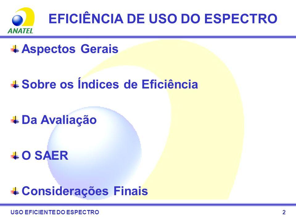 23 O SAER EFICIÊNCIA DE USO DO ESPECTRO
