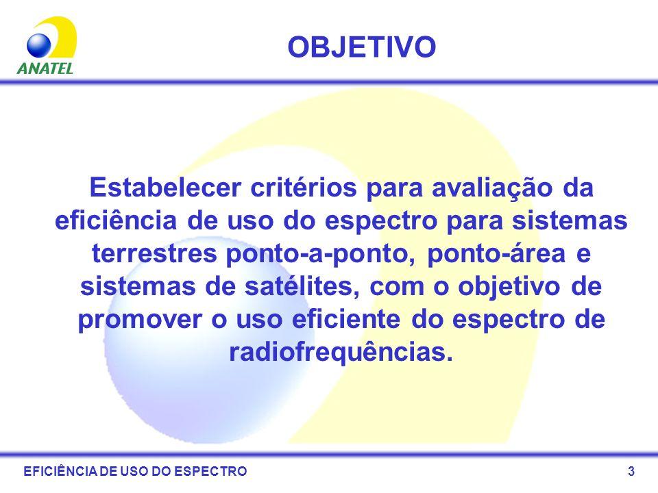 14 ÍNDICES DE EFICIÊNCIA Após a avaliação, o uso do espectro poderão ser classificados como: –Eficiente; –Ineficiente EFICIÊNCIA DE USO DO ESPECTRO