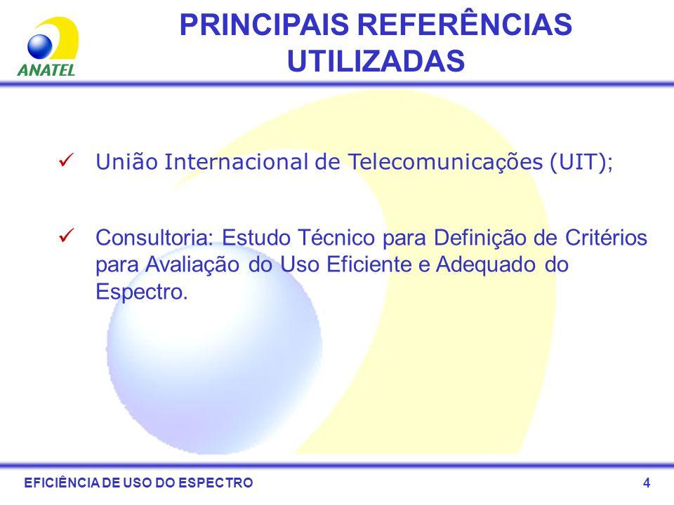 PRINCIPAIS REFERÊNCIAS UTILIZADAS União Internacional de Telecomunica ç ões (UIT) ; Consultoria: Estudo Técnico para Definição de Critérios para Avali
