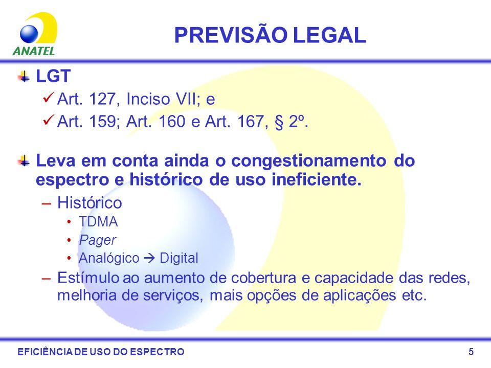5 PREVISÃO LEGAL LGT Art. 127, Inciso VII; e Art. 159; Art. 160 e Art. 167, § 2º. Leva em conta ainda o congestionamento do espectro e histórico de us