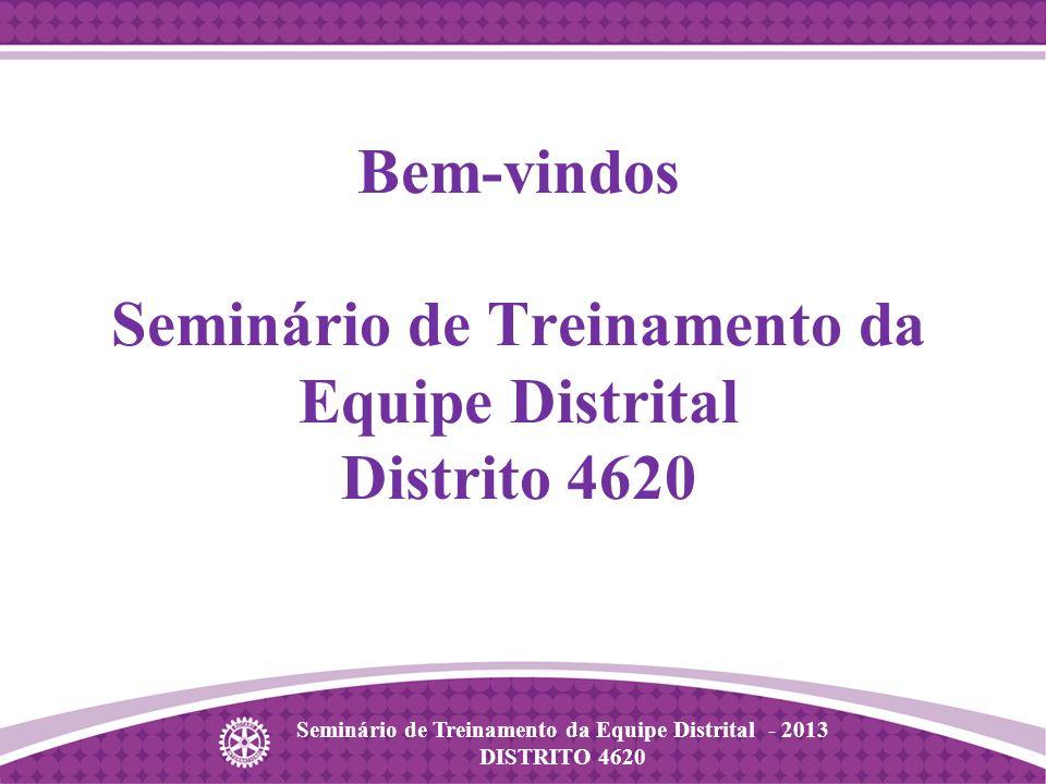 Seminário de Treinamento da Equipe Distrital - 2013 DISTRITO 4620 Bem-vindos Seminário de Treinamento da Equipe Distrital Distrito 4620