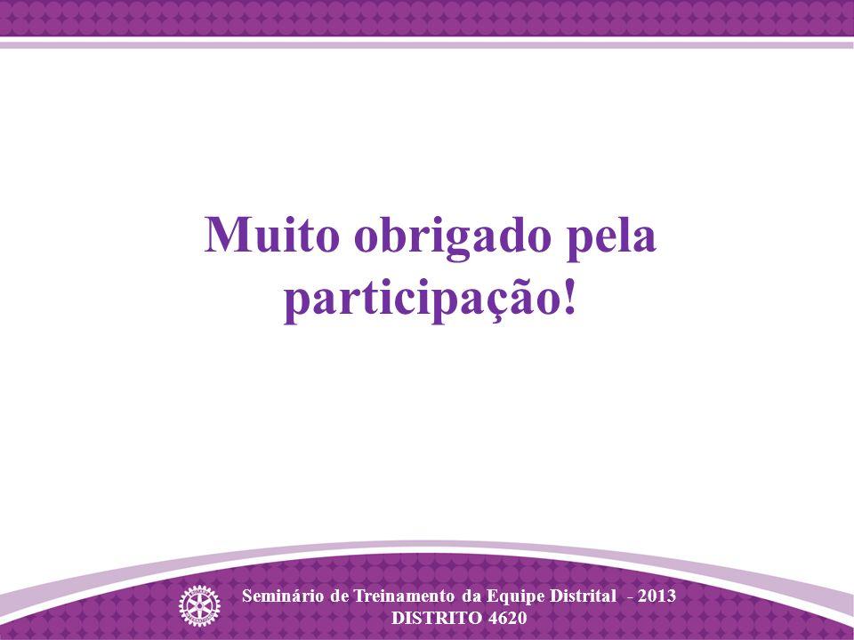 Seminário de Treinamento da Equipe Distrital - 2013 DISTRITO 4620 Muito obrigado pela participação!