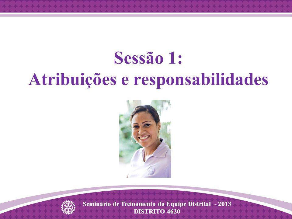 Seminário de Treinamento da Equipe Distrital - 2013 DISTRITO 4620 Sessão 1: Atribuições e responsabilidades
