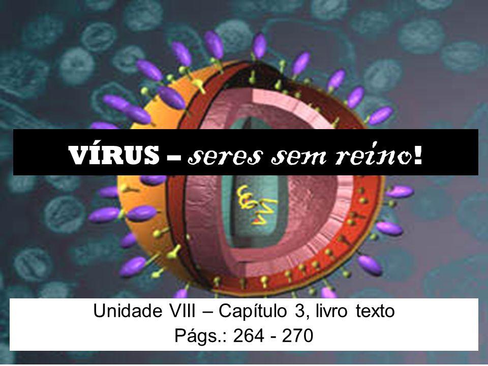 VÍRUS – seres sem reino ! Unidade VIII – Capítulo 3, livro texto Págs.: 264 - 270