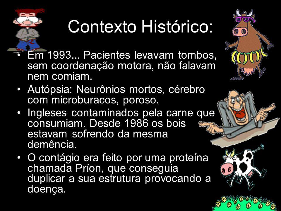 Contexto Histórico: Em 1993... Pacientes levavam tombos, sem coordenação motora, não falavam nem comiam. Autópsia: Neurônios mortos, cérebro com micro