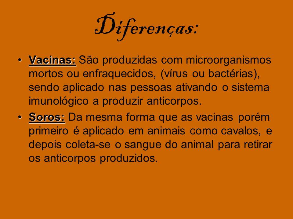 Diferenças: Vacinas:Vacinas: São produzidas com microorganismos mortos ou enfraquecidos, (vírus ou bactérias), sendo aplicado nas pessoas ativando o s