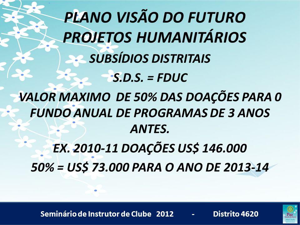 Seminário de Instrutor de Clube 2012 - Distrito 4620 PLANO VISÃO DO FUTURO PROJETOS HUMANITÁRIOS SUBSÍDIOS DISTRITAIS S.D.S. = FDUC VALOR MAXIMO DE 50