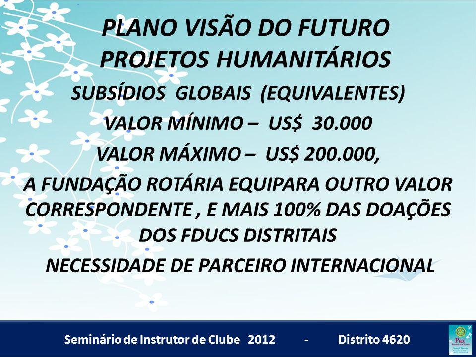 Seminário de Instrutor de Clube 2012 - Distrito 4620 PLANO VISÃO DO FUTURO PROJETOS HUMANITÁRIOS SUBSÍDIOS GLOBAIS (EQUIVALENTES) VALOR MÍNIMO – US$ 3