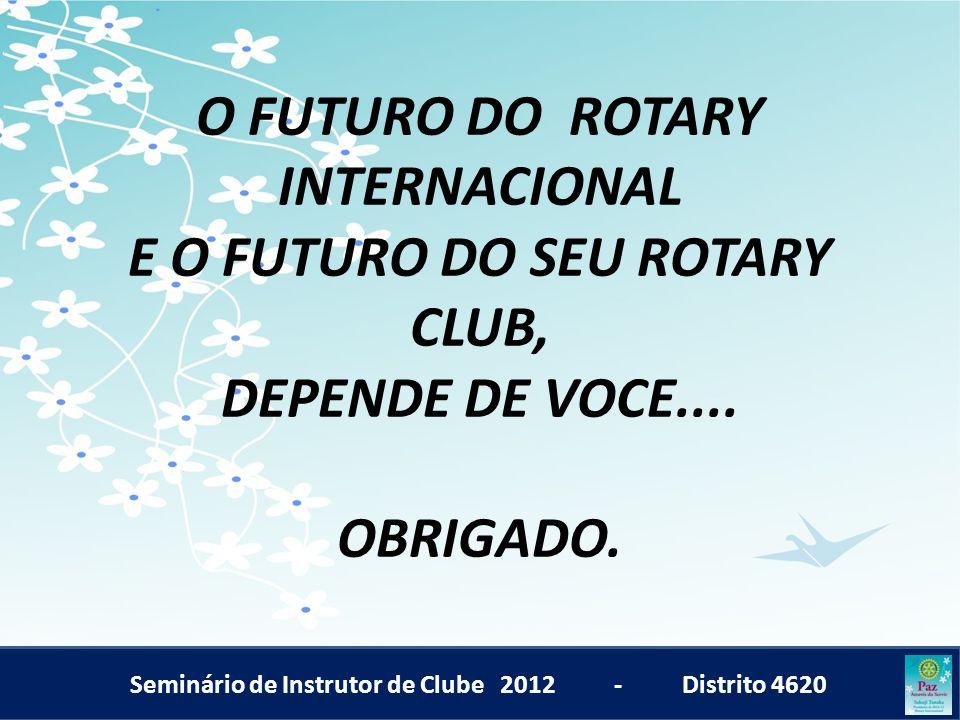 Seminário de Instrutor de Clube 2012 - Distrito 4620 O FUTURO DO ROTARY INTERNACIONAL E O FUTURO DO SEU ROTARY CLUB, DEPENDE DE VOCE.... OBRIGADO.