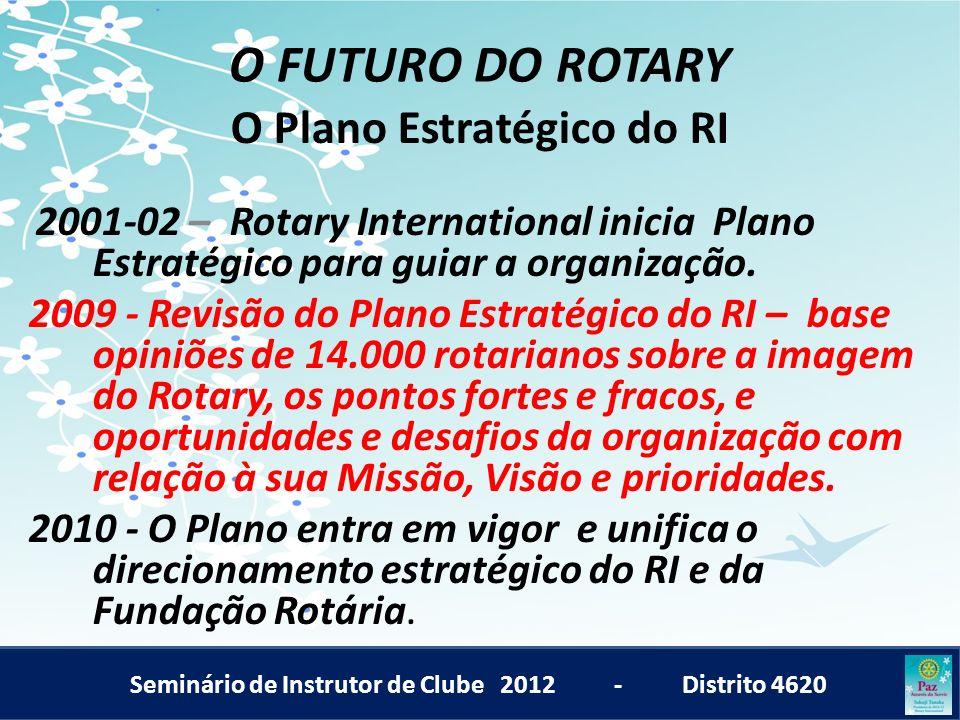 Seminário de Instrutor de Clube 2012 - Distrito 4620 O FUTURO DO ROTARY O Plano Estratégico do RI 2001-02 – Rotary International inicia Plano Estratég
