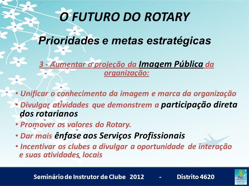 Seminário de Instrutor de Clube 2012 - Distrito 4620 O FUTURO DO ROTARY 3 - Aumentar a projeção da Imagem Pública da organização: Unificar o conhecime