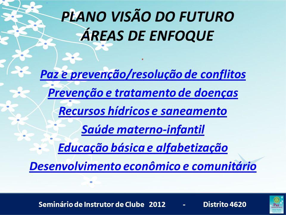 Seminário de Instrutor de Clube 2012 - Distrito 4620 PLANO VISÃO DO FUTURO ÁREAS DE ENFOQUE. Paz e prevenção/resolução de conflitos Prevenção e tratam