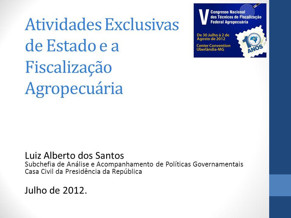 Atividades Exclusivas de Estado e a Fiscalização Agropecuária Luiz Alberto dos Santos Subchefia de Análise e Acompanhamento de Políticas Governamentai