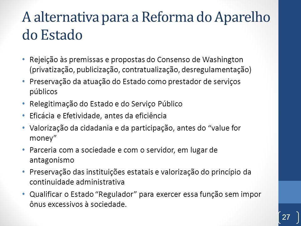 A alternativa para a Reforma do Aparelho do Estado Rejeição às premissas e propostas do Consenso de Washington (privatização, publicização, contratual