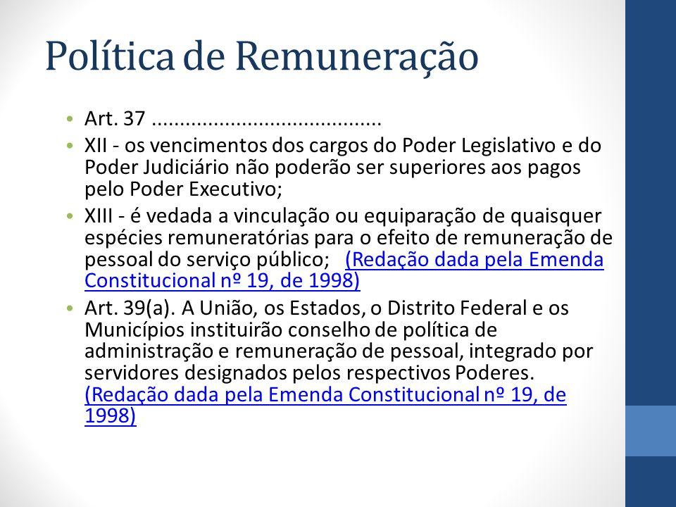 Política de Remuneração Art. 37......................................... XII - os vencimentos dos cargos do Poder Legislativo e do Poder Judiciário nã