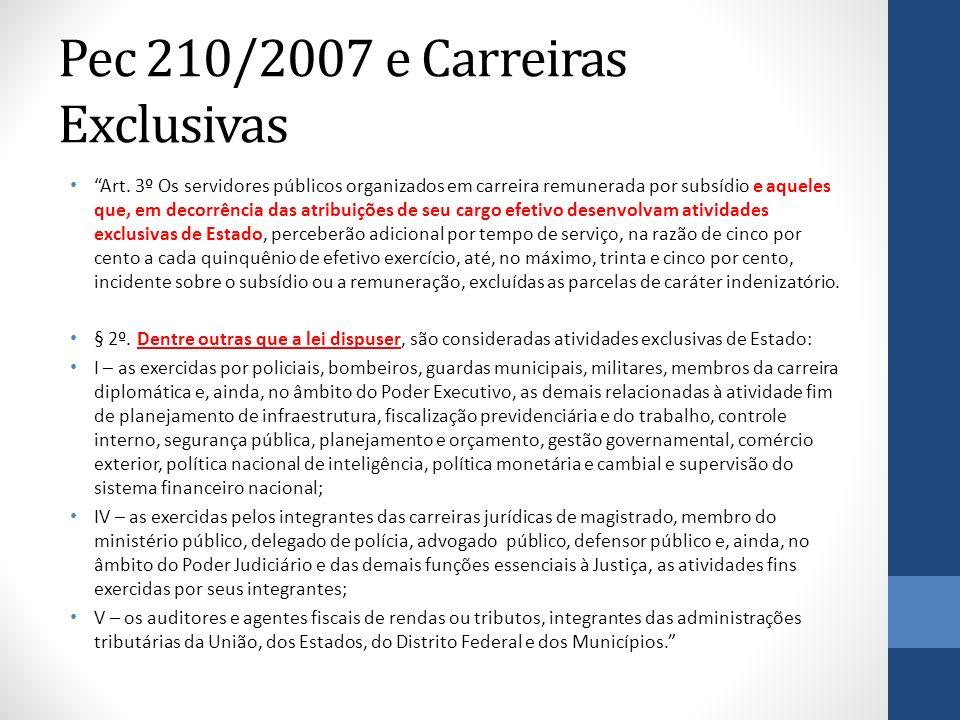 Pec 210/2007 e Carreiras Exclusivas Art. 3º Os servidores públicos organizados em carreira remunerada por subsídio e aqueles que, em decorrência das a
