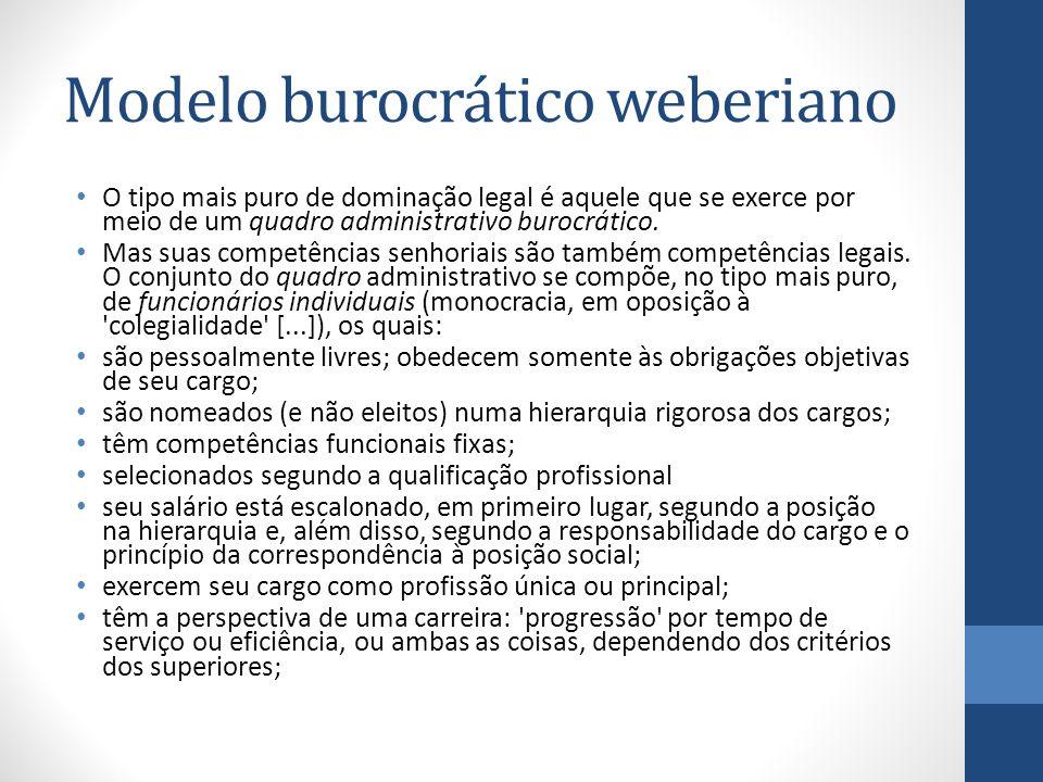 Modelo burocrático weberiano O tipo mais puro de dominação legal é aquele que se exerce por meio de um quadro administrativo burocrático. Mas suas com
