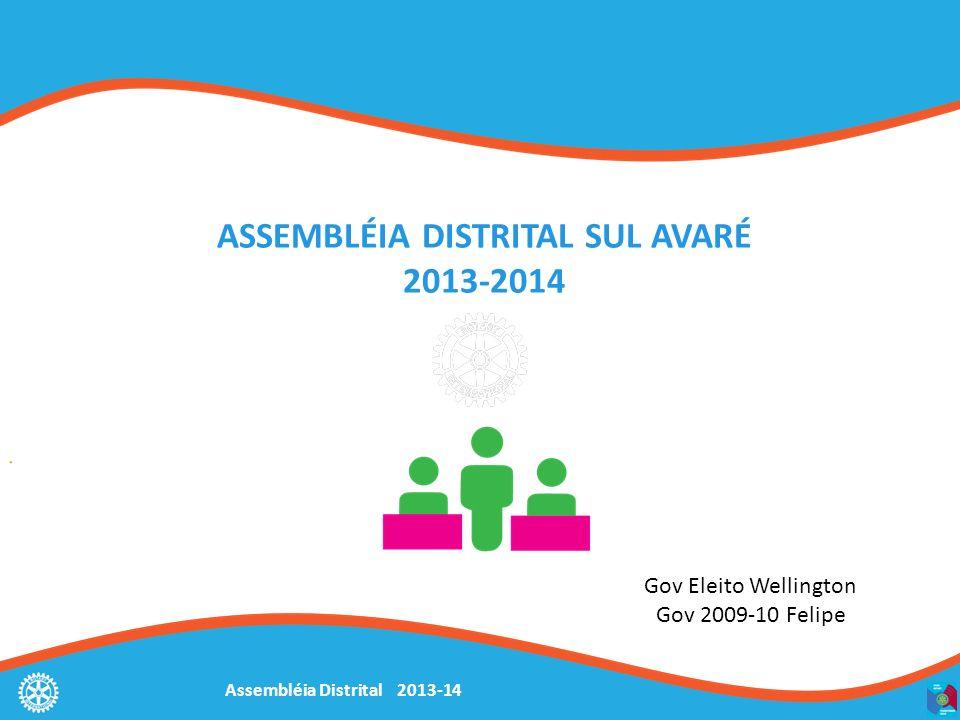 Assembléia Distrital 2013-14 ASSEMBLÉIA DISTRITAL SUL AVARÉ 2013-2014 Gov Eleito Wellington Gov 2009-10 Felipe