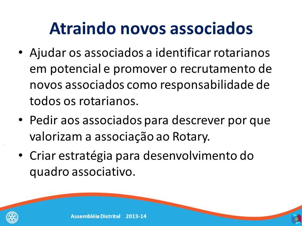 Assembléia Distrital 2013-14 Atraindo novos associados Ajudar os associados a identificar rotarianos em potencial e promover o recrutamento de novos a