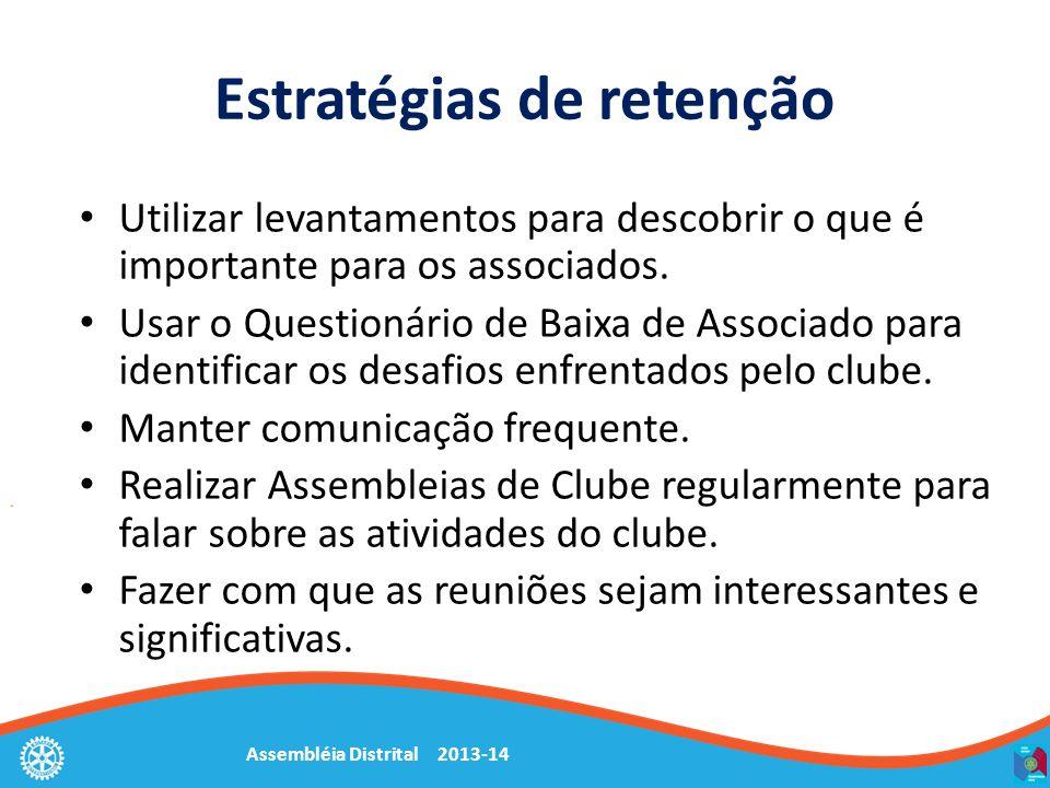 Assembléia Distrital 2013-14 Estratégias de retenção Utilizar levantamentos para descobrir o que é importante para os associados. Usar o Questionário